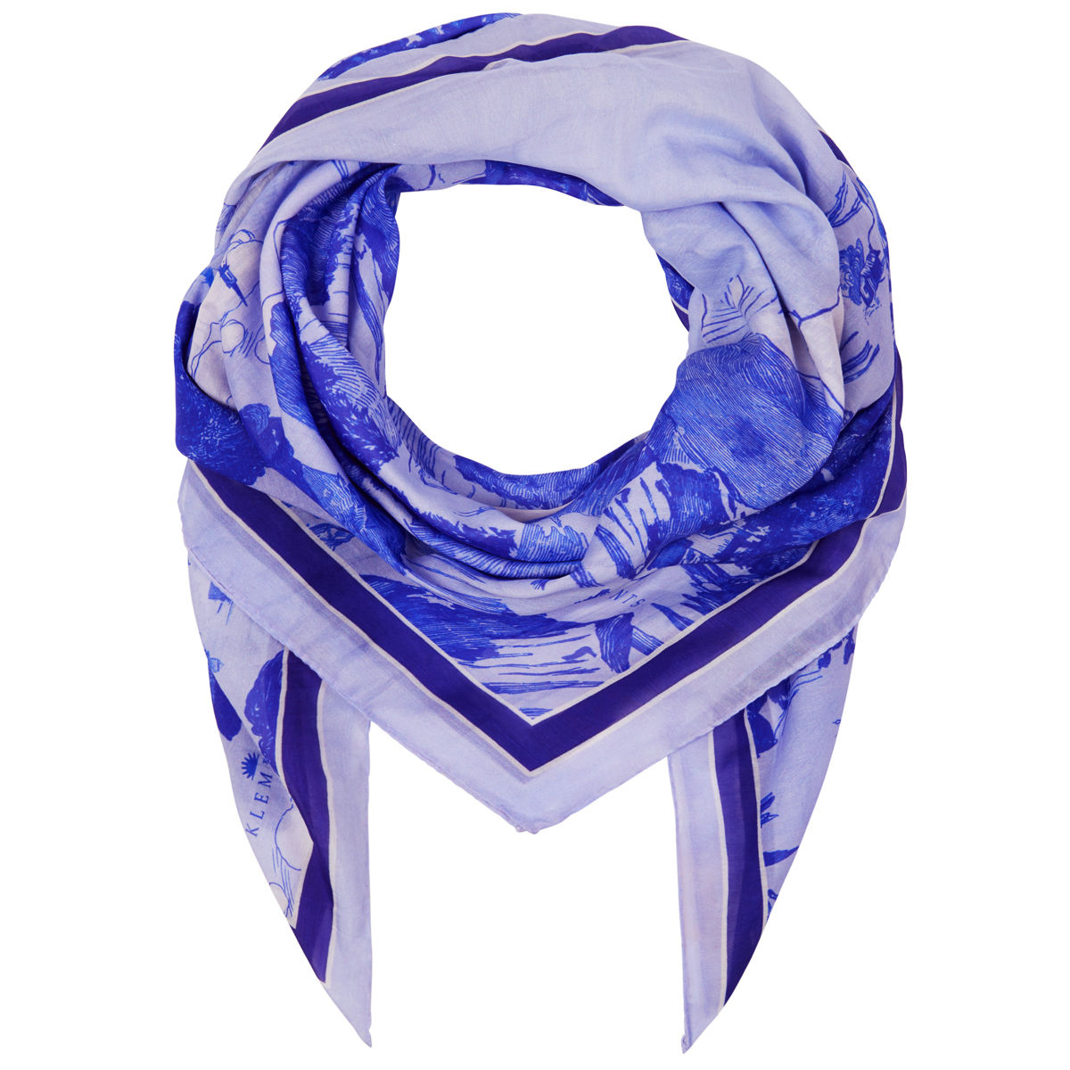 Large scarf in Le Mont Saint Michael (cornflower) print - product images  of