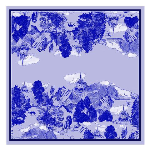 Large,scarf,in,Le,Mont,Saint,Michael,(cornflower),print