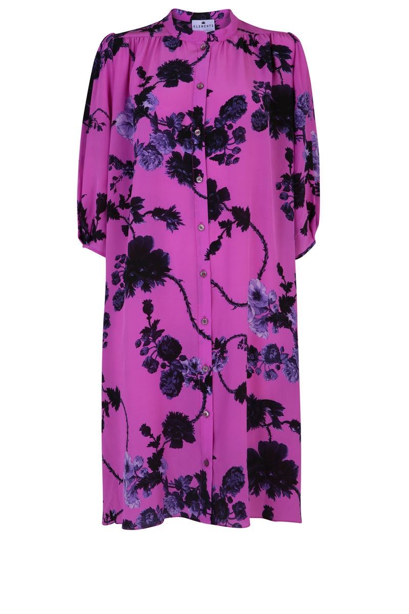 Scout Dress Gothic Floral Raspberry print / Silk - product images  of