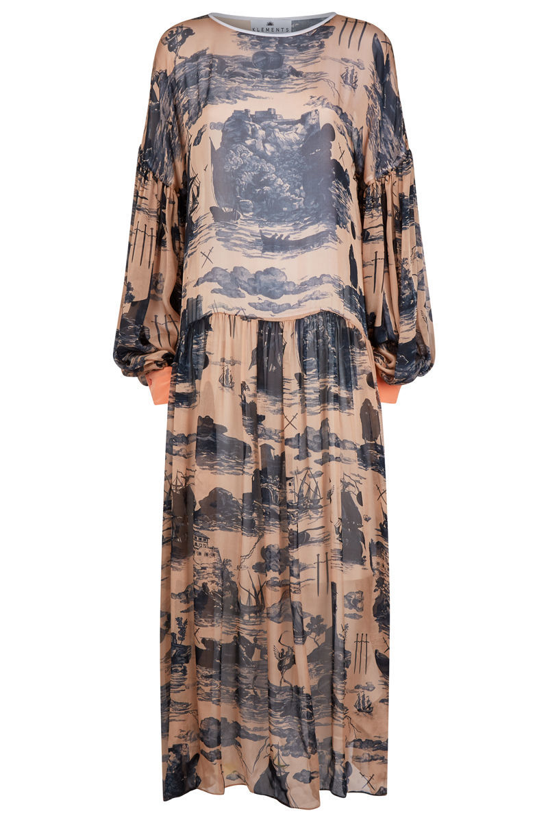 Dusk Dress Doomed Voyage print / solid silk - product images  of
