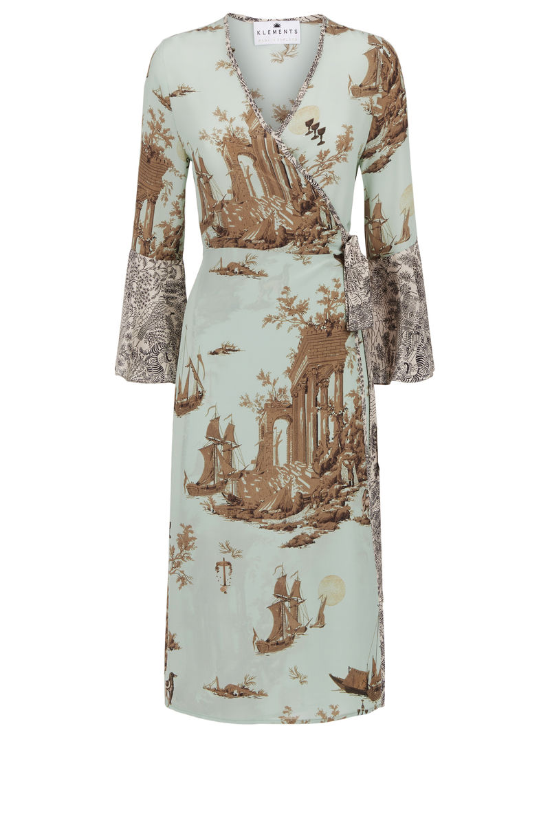 Netil Wrap dress cursed civilisation print *online exclusive* - product images  of