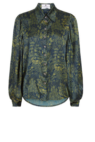 Painters,Smock,Shirt,in,Abandoned,Village,BELL_SLEEVES_MASSIVE_SILK_PRINTED_NAVY_LIME