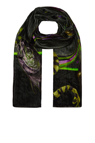 Large,Velvet,scarf,in,Rainbow,Trout,print,(absinthe),rainbow_trout_silk_velvet_made_in_italy