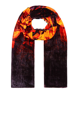 Large,Velvet,scarf,in,Doomed,voyage,print,(pumpkin),rainbow_trout_silk_velvet_made_in_italy