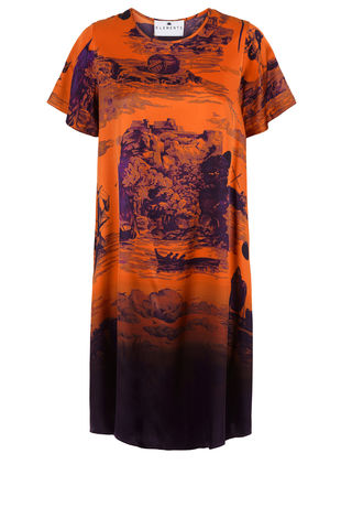 Frieda,Dress,in,Doomed,Voyage,print,(pumpkin),shift dress wedding guest dress