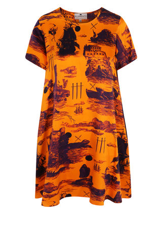 Frieda,Dress,in,Doomed,Voyage,print,(pumpkin,/,no,ombre),shift dress wedding guest dress