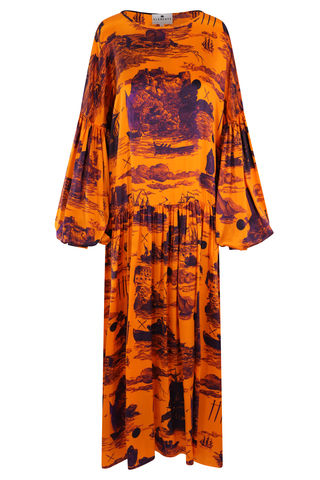 Dusk,Dress,Doomed,Voyage,print,/,Pumpkin,silk,satin