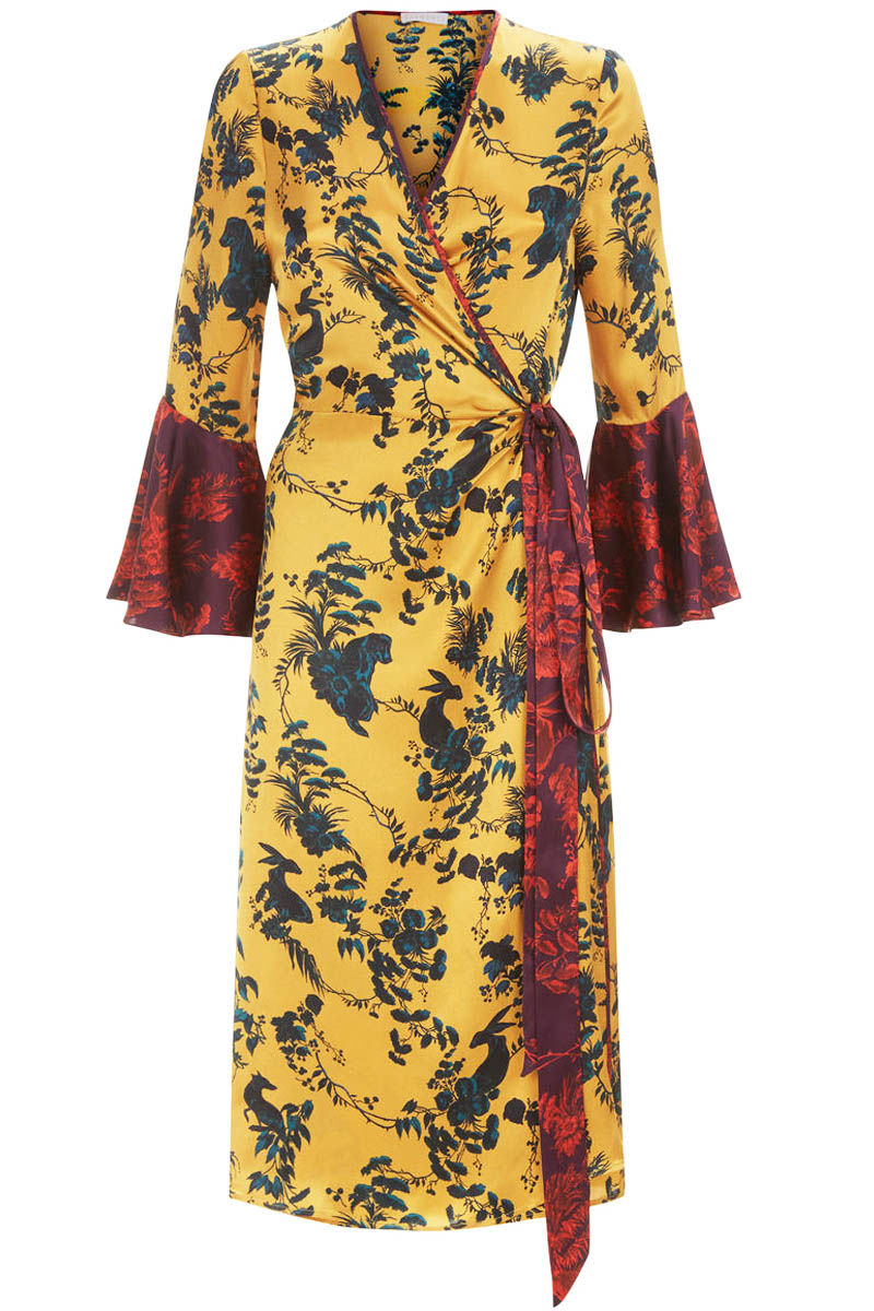 Netil Wrap dress in Garden Puppets mixed print  - product images  of