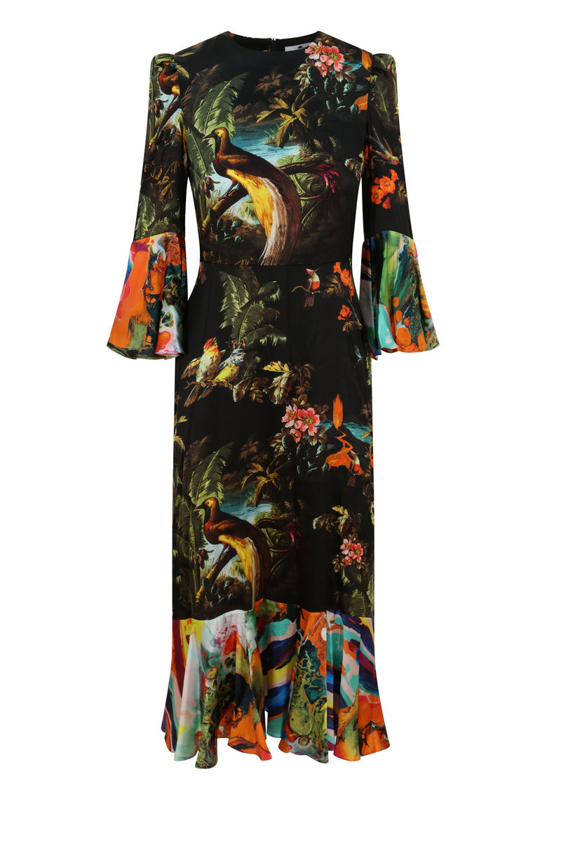 Netil Dress in Volcano & Magma print - product images  of