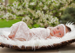 Lace Newborn Wrap, Baby Girl, Newborn Photo Prop, Baby Stretch Wrap, Newborn Girl Photography Prop, Ready to Ship, Layering Blanket - product images 3 of 4