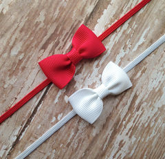 Baby,Bow,Headbands,,Set,of,2,Newborn bow headband, baby bows, newborn photo prop, newborn headband, elastic headband
