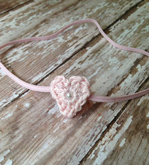 Heart Headband and Lace Wrap Set, Baby Girl Headband, Newborn Photo Prop, Ready to Ship, Stretch Lace Wrap, Baby Photography - product images 3 of 5
