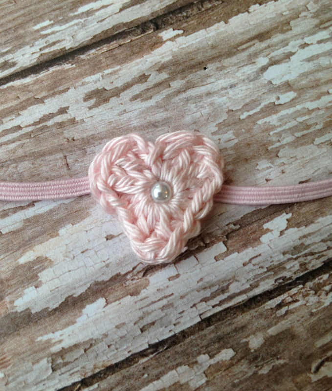 Heart Headband and Lace Wrap Set, Baby Girl Headband, Newborn Photo Prop, Ready to Ship, Stretch Lace Wrap, Baby Photography - product image