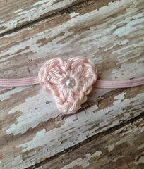 Heart Headband and Lace Wrap Set, Baby Girl Headband, Newborn Photo Prop, Ready to Ship, Stretch Lace Wrap, Baby Photography - product images 4 of 5