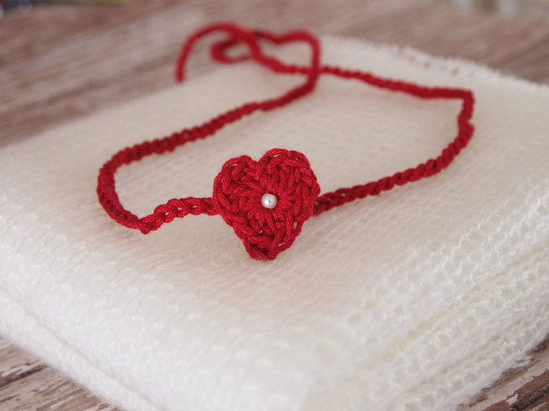Heart Tie Back Headband, Photography Prop, Dainty Baby Girl Headband, Newborn Photo Prop - product image