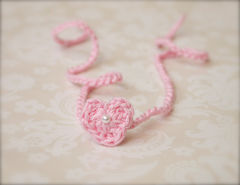 Heart Tie Back Headband, Photography Prop, Dainty Baby Girl Headband, Newborn Photo Prop - product images 4 of 5