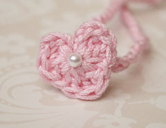 Heart Tie Back Headband, Photography Prop, Dainty Baby Girl Headband, Newborn Photo Prop - product images 5 of 5