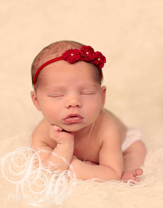 Red Baby Headband, Newborn Photo Prop, Baby Girl Headband, Crochet Flower Headband, Newborn Headband, Valentines, Baby Photography Prop - product image