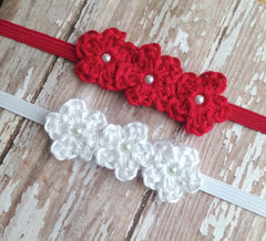 Red Baby Headband, Newborn Photo Prop, Baby Girl Headband, Crochet Flower Headband, Newborn Headband, Valentines, Baby Photography Prop - product images 2 of 5