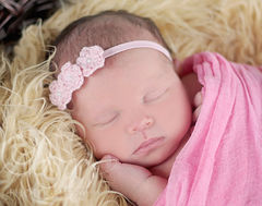 Red Baby Headband, Newborn Photo Prop, Baby Girl Headband, Crochet Flower Headband, Newborn Headband, Valentines, Baby Photography Prop - product images 3 of 5