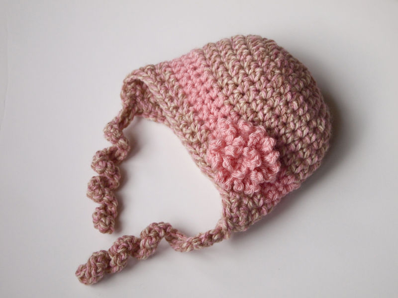 Newborn GIrl Hat with Curly Ties - product image