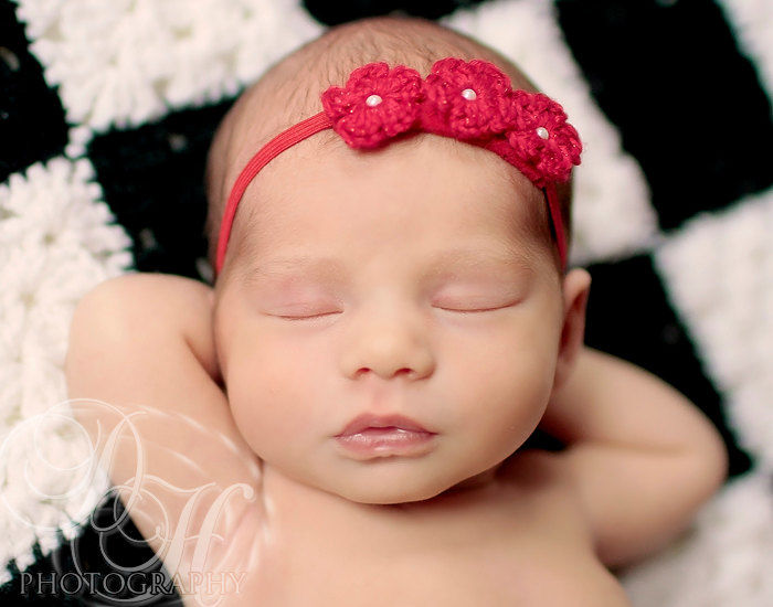 Red Newborn Headband. Crochet. - product image
