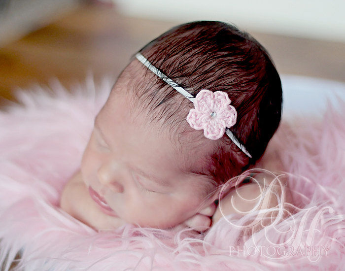 Baby Crochet Headband, Newborn Baby Girl - product image