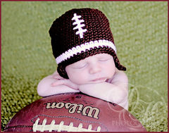 Baby Football Hat, Newborn Crochet Hat - product images 2 of 4