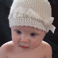 Baby Crochet Hat, Newborn Ballerina Hat, Ivory - product images 1 of 5