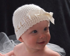 Baby Crochet Hat, Newborn Ballerina Hat, Ivory - product images 2 of 5