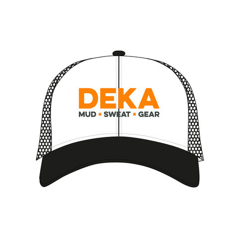 DEKA,mud,x,sweat,gear,logo,Flexfit,snapback,black,and,white,trucker,Cap,trucker cap, flexfit, DEKA logo, cap, mud x sweat x gear