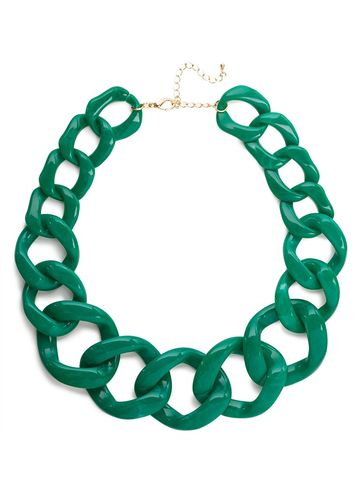 CHAIN,BREAK,NECKLACE-,GREEN