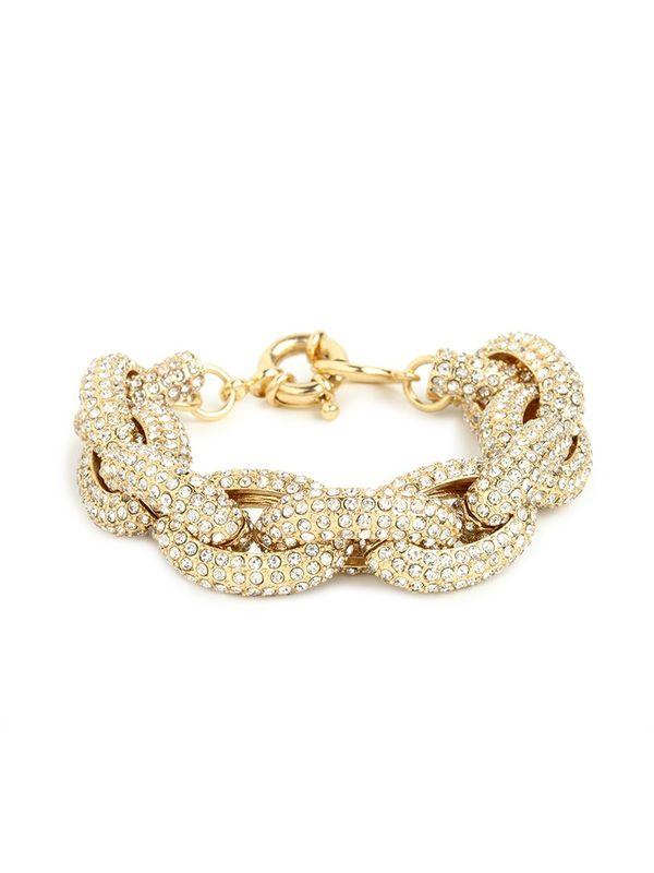 Pave Crystal Link Bracelet Gold Pynk