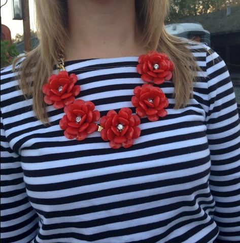 FULL BLOOM BIB NECKLACE - (CORAL) - product images  of