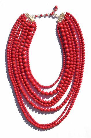 RED,SEVEN,LAYER,NECKLACE
