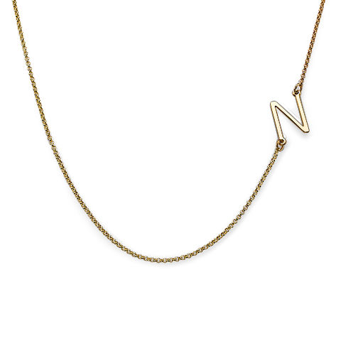 GOLD SIDE INITIAL NECKLACE - product images  of