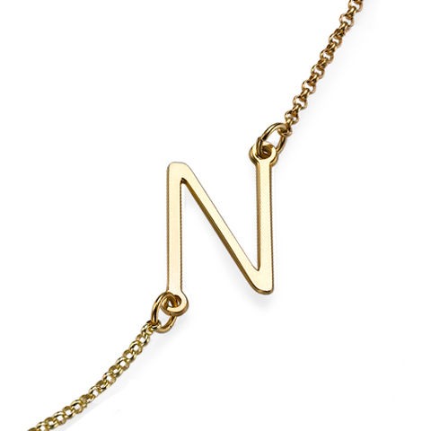 GOLD,SIDE,INITIAL,NECKLACE,Gold Side Initial Necklace, Monogram Necklace, Gold Monogram Necklace, Initial Monogram Necklace, Single Initial Monogram Necklace, Engraved Necklace