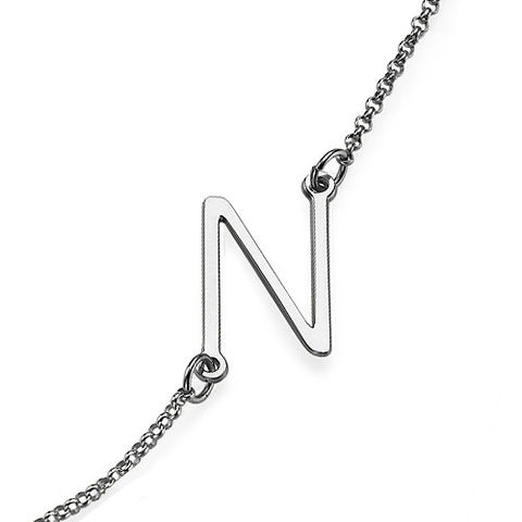 SILVER SIDE INITIAL NECKLACE - product images  of