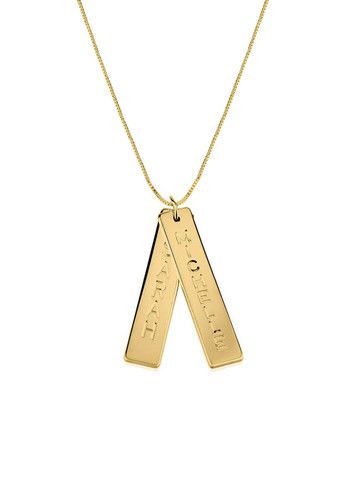 DOUBLE,VERTICAL,BAR,NAME,NECKLACE,Monogram Necklace, Name Plate Necklace, Name Bar Necklace, name tag, bar name plate