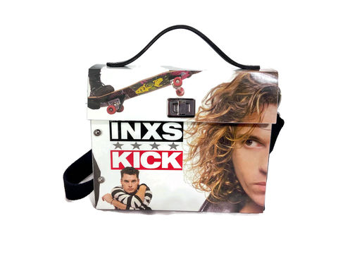 INXS,One-of-a-Kind,Bag,from,actual,album,cover, Michael Hutchence, recycled fashion, unique bag, bespoke bag, structured bag, 1980s music