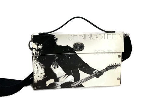Bruce,Springsteen,Born,to,Run,Bag,from,actual,album,Bruce Springsteen, Collectible, structured bag, upcycled fashion