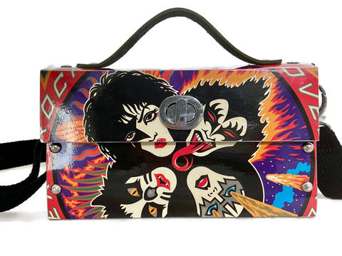 Kiss,Rock,and,Roll,Over,Actual,Record,Album,Cover,Bag,KISS, unconventional material fashion, upcycle, unique bags, bespoke bags, 1970s music, 1980s music