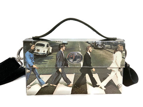 The,Beatles,Abbey,Road,Record,Album,Cover,bag,The Beatles, McCartney, Lennon, Harrison, Beatles collectible, bespoke bag, music bag, unique bag, unconventional materials fashion