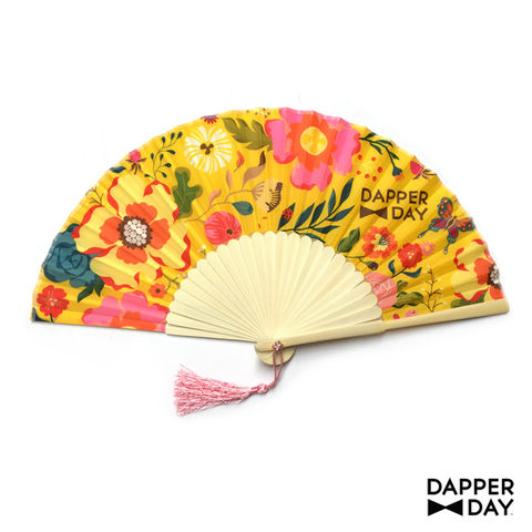 Garden,Party,Fan,(Yellow),Dapper Day floral fan