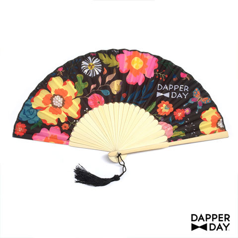 Garden,Party,Fan,(Black),Dapper Day floral fan
