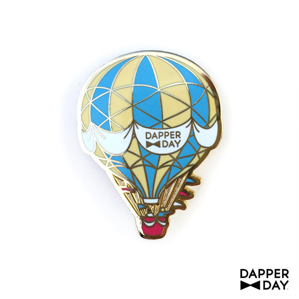 Hot Air Balloon Pin: Blue & Yellow - product images  of