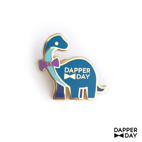 Dapper,Dino,Pin,in,Blue,Sauropod Dinosaur bow tie Lapel Pin Dapper Day