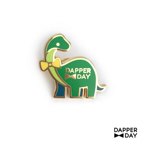 Dapper,Dino,Pin,in,Green,Green Sauropod Dinosaur bow tie Lapel Pin Dapper Day