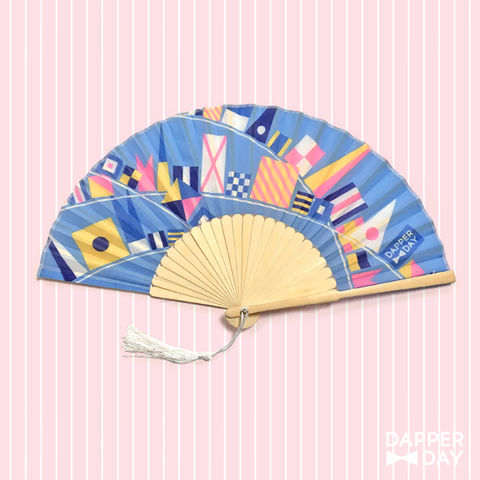 Flags,Ahoy,Fan,in,Blue,Dapper Day Nautical Flags fan
