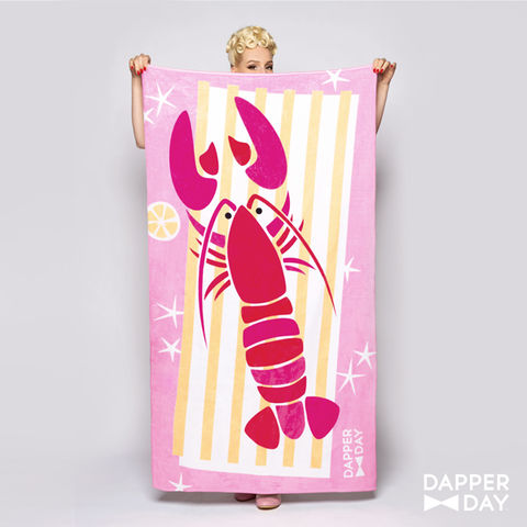 Lounging,Lobster,Beach,Towel,Lobster beach pool towel